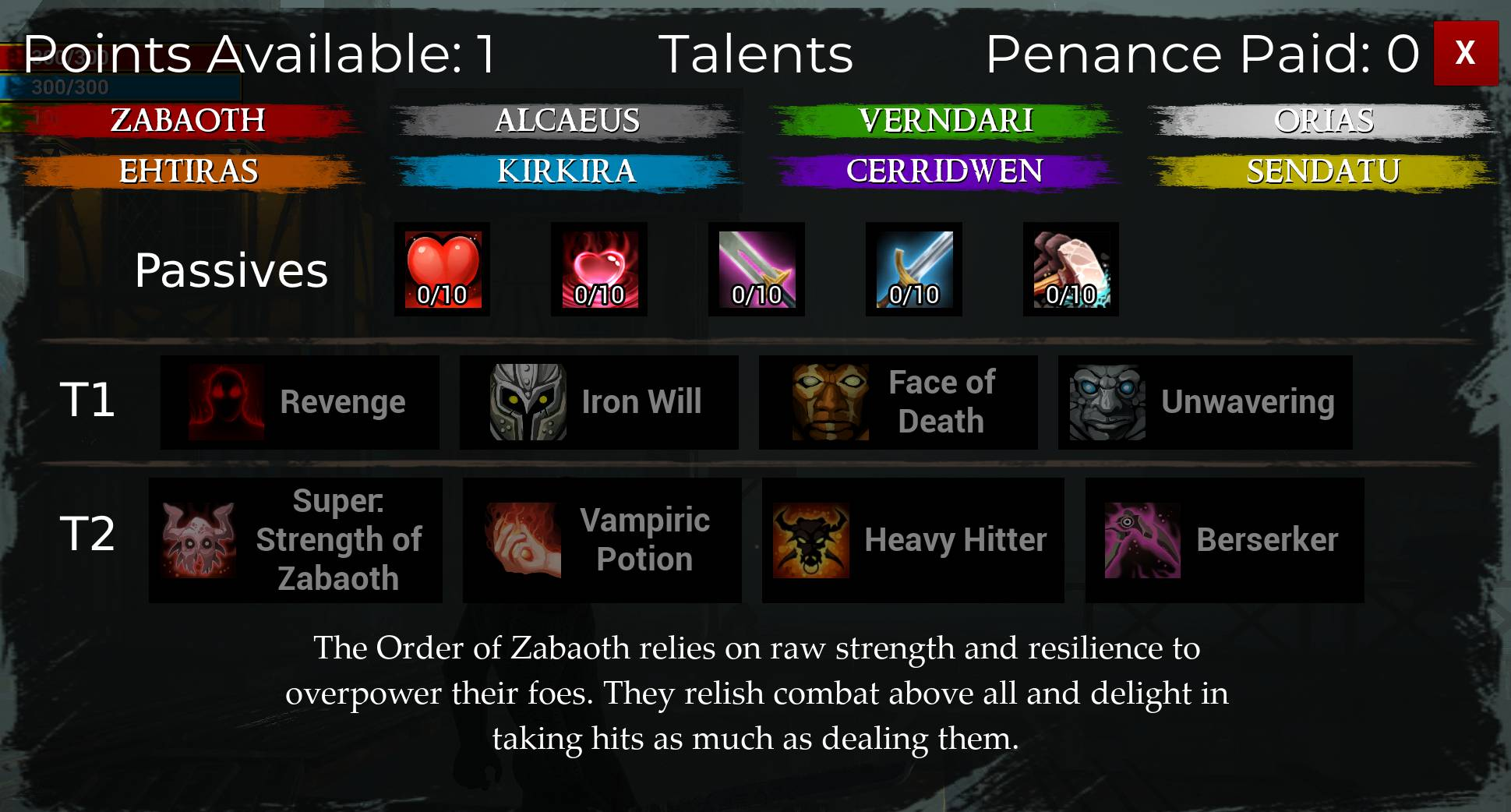 Talent Menu Labeled